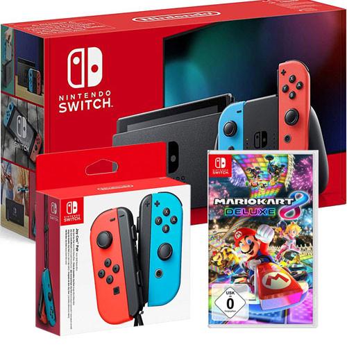 Nintendo Switch neonrot V2 + JC + Mario Kart MK8 + R/b Joycons